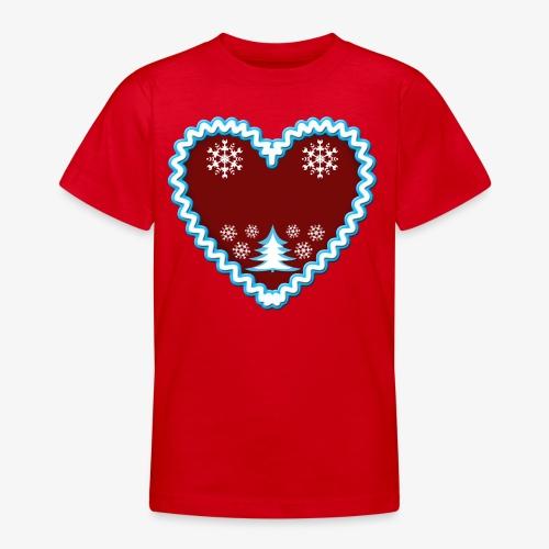 Lebkuchenherz Dein Text Frohe Weihnachten 01 - Teenager T-Shirt