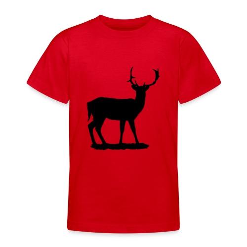 Silueta ciervo en negro - Camiseta adolescente
