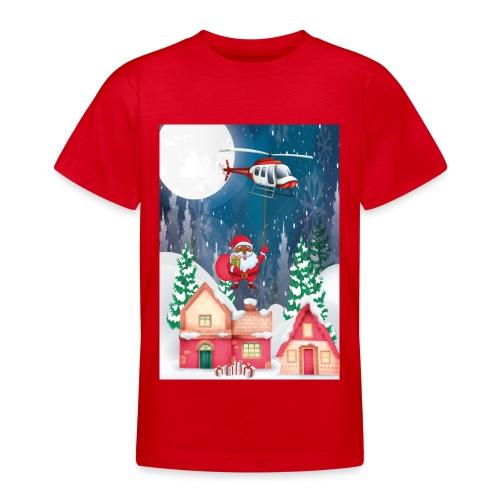 Black Santa kommt mit dem Hubschrauber - Teenager T-Shirt