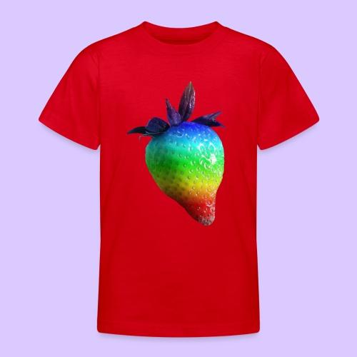 bunte Erdbeere in den Farben des Regenbogens - Teenager T-Shirt