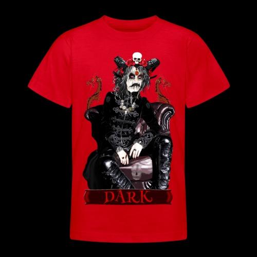 Créature gothique assise avec crânes et dragons - T-shirt Ado