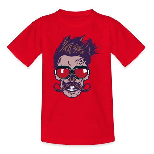 tete de mort hipster skull crane moustache lunette - T-shirt Ado