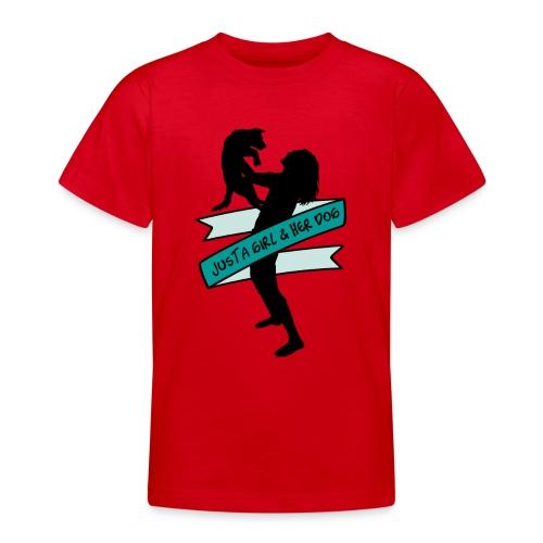 A Girl & Her Dog - Frauchen Mädchen Hund Geschenk - Teenager T-Shirt