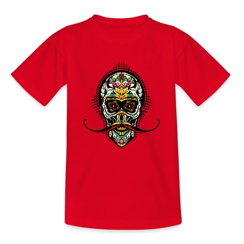tete de mort mexicaine crane hipster skull moustac - T-shirt Ado