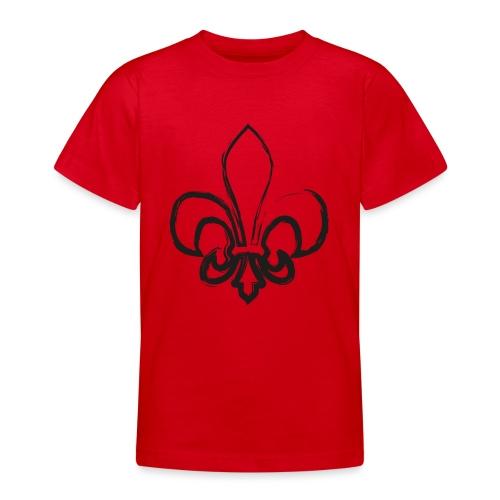 Pinselzeichnung Lilie – Schwarz - Teenager T-Shirt