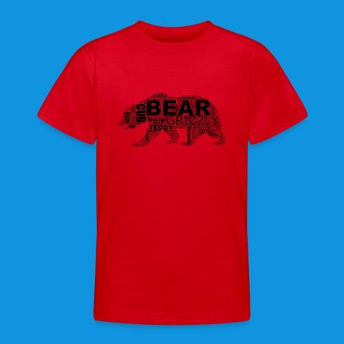 Bear Word Cloud black text - Teenage T-Shirt