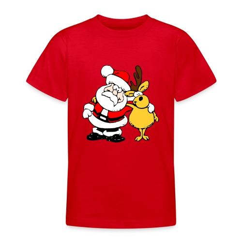 Santa and Reindeer - Teenage T-Shirt