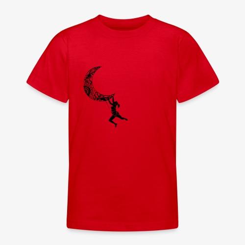 Climbing Woman Girl moon - Climber on the moon - Teenage T-Shirt