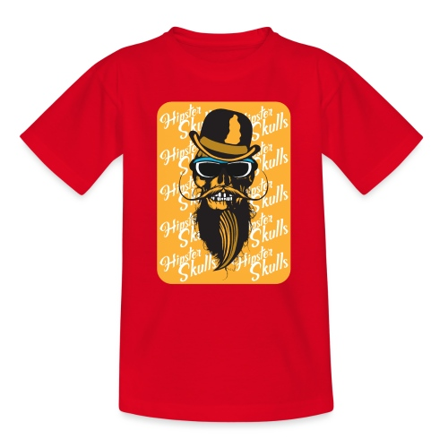 tete de mort crane hipster skull barbu moustache c - T-shirt Ado
