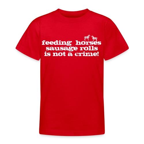 Feeding Horses - Teenage T-Shirt