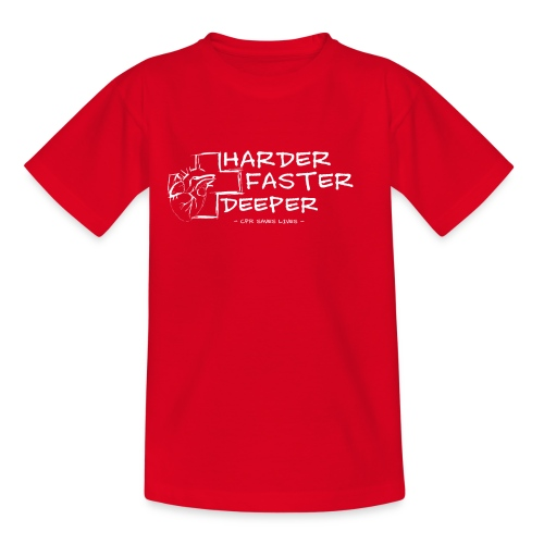 Harder Faster Deeper in White - Teenager T-Shirt