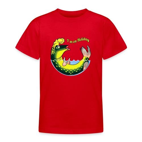 10-39 LADY FISH HOLIDAY - Haukileidi lomailee - Nuorten t-paita