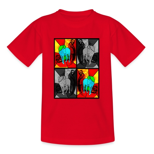 Nordic Horses in squares, heste - Teenager-T-shirt