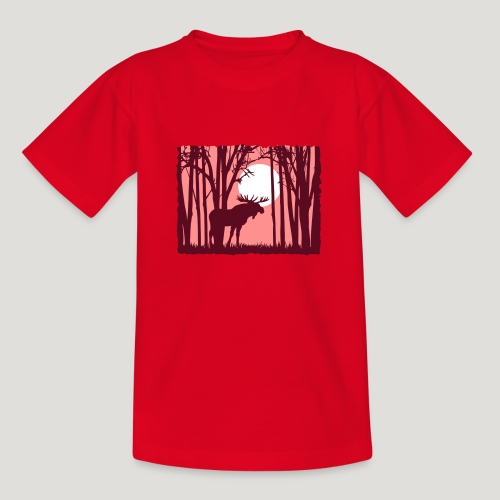 Sonnenuntergang, Elch im Wald, Moose in the woods - Teenager T-Shirt