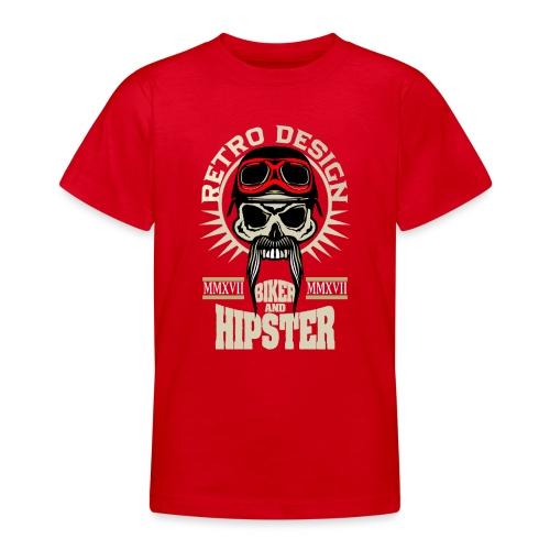 tete de mort hipster biker skull crane motard lune - T-shirt Ado
