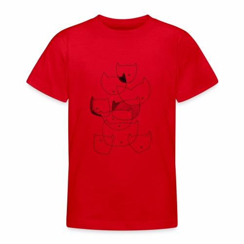 cats black line - katten zwarte lijn - Teenager T-shirt
