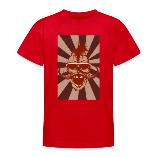 tete de mort crane hipster skull moustache design - T-shirt Ado