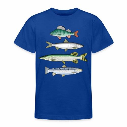 FOUR FISH - Ahven, siika, hauki ja taimen tuotteet - Nuorten t-paita