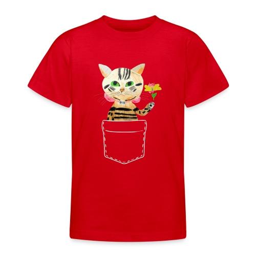 Katze bringt Blume als Geschenk und Glückwünsche - Teenager T-Shirt