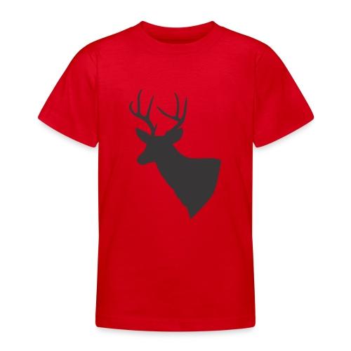 Silueta trofeo ciervo en negro. - Camiseta adolescente