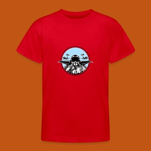 Jet Pilot / Kampfpilot 01_weiß Schwarz - Teenager T-Shirt