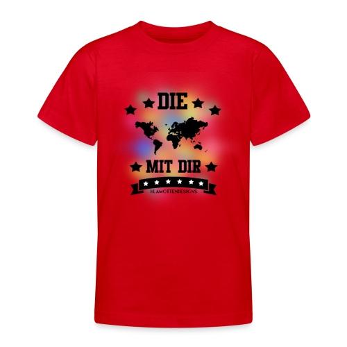 Die Welt mit dir bunt weiss - Klamottendesigns - Teenager T-Shirt