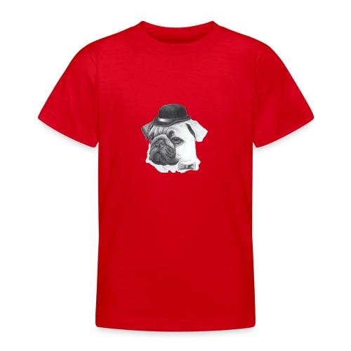 pug with bowler - Teenager-T-shirt