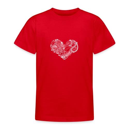 White Leaf Heart Mandala - Teenage T-Shirt