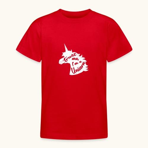 Cadeau de licorne rigolo disant calligraphie blanche - T-shirt Ado