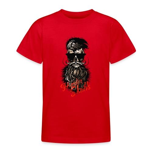 tete de mort barbu hipster barbe crane moustache m - T-shirt Ado