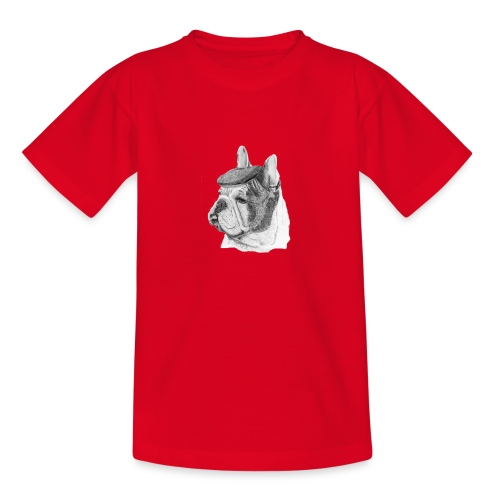 French Bulldog w/beret - Teenager-T-shirt