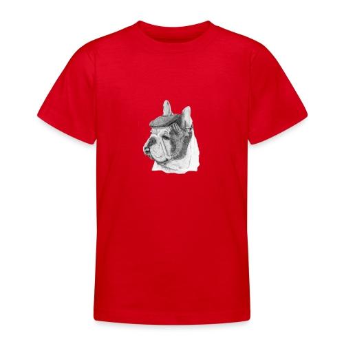 French Bulldog w/beret - Teenager-T-shirt