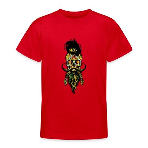 tete de mort mexicaine hipster barbu barbe moustac - T-shirt Ado
