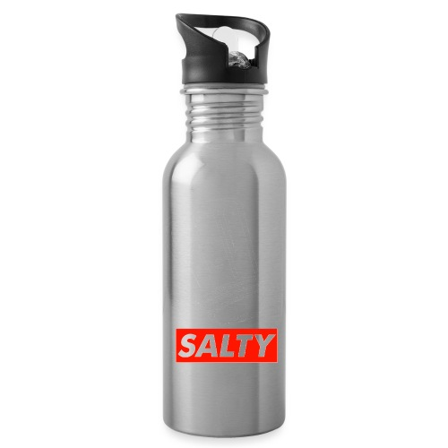 Salty white - Water bottle with straw