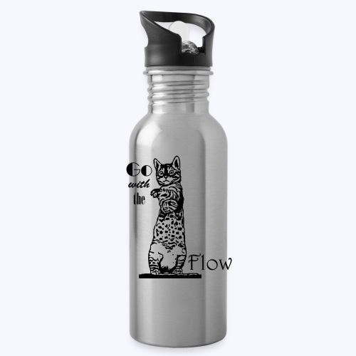 YogaKat1 schwarz - Trinkflasche mit integriertem Trinkhalm
