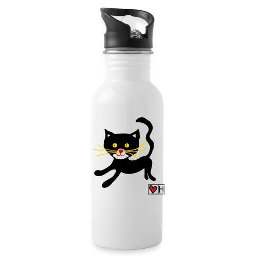 Kinderkatze - Trinkflasche mit integriertem Trinkhalm