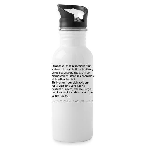 Strandbar Text schwarz - Trinkflasche
