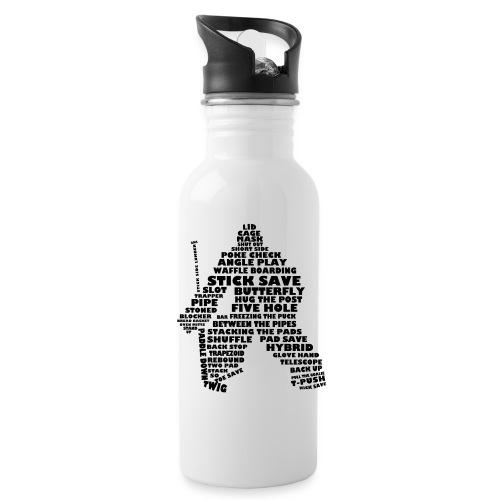 Language of Hockey (Goalie version, black print) - Water Bottle