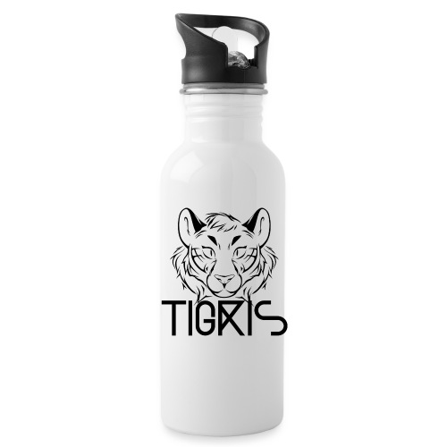 Tigris Logo Picture Text Black - Water Bottle