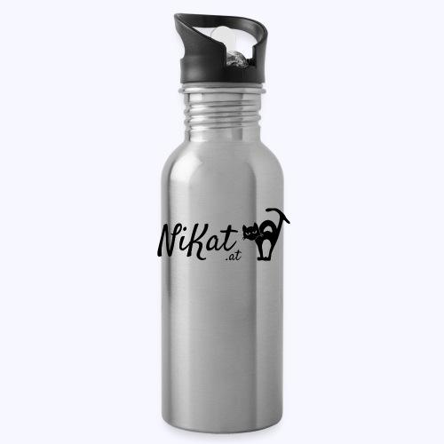 Nikat logo schwarz - Trinkflasche mit integriertem Trinkhalm
