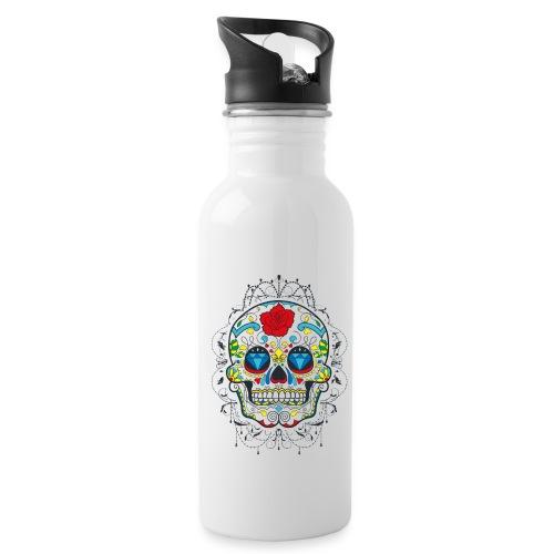 Rose und Diamantschädel - Trinkflasche