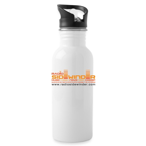 Radio Sidewinder logo and url dark - Water Bottle