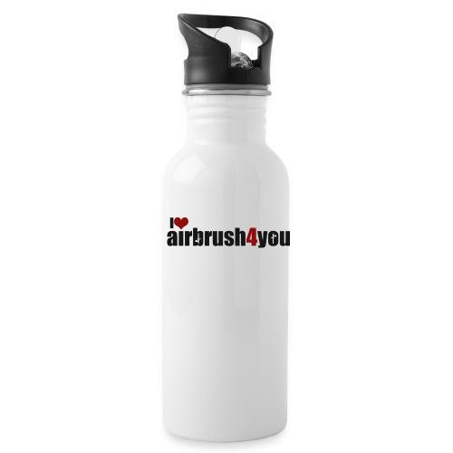 I Love airbrush4you - Trinkflasche mit integriertem Trinkhalm