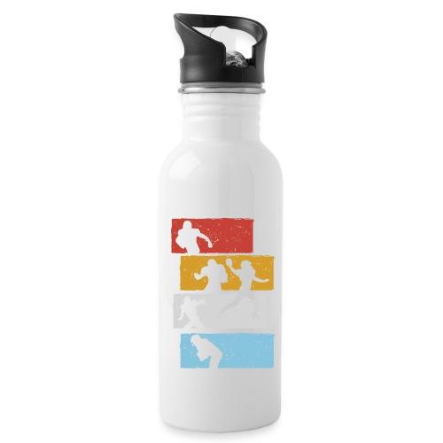retro streifen football spieler - Trinkflasche