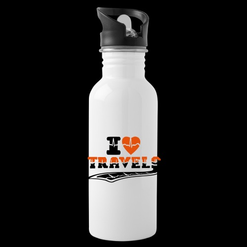 i love travels surprises 2 col - Water Bottle