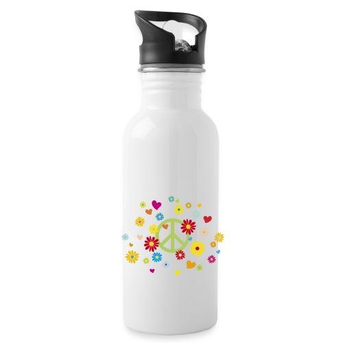 Peacezeichen Blumen Herz flower power Valentinstag - Water Bottle