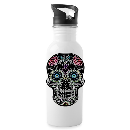 Floral Skull - Water bottle with straw