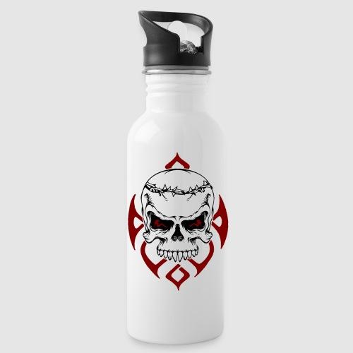 Totenkopf - Trinkflasche mit integriertem Trinkhalm