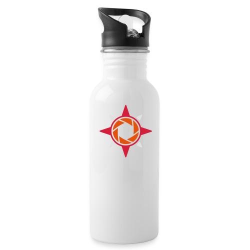 weiß rote rose 2 - Trinkflasche
