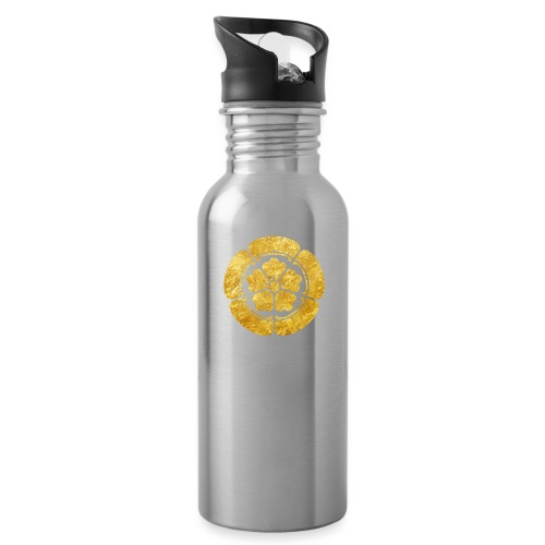 Oda Mon Japanese samurai clan faux gold on black - Water bottle with straw